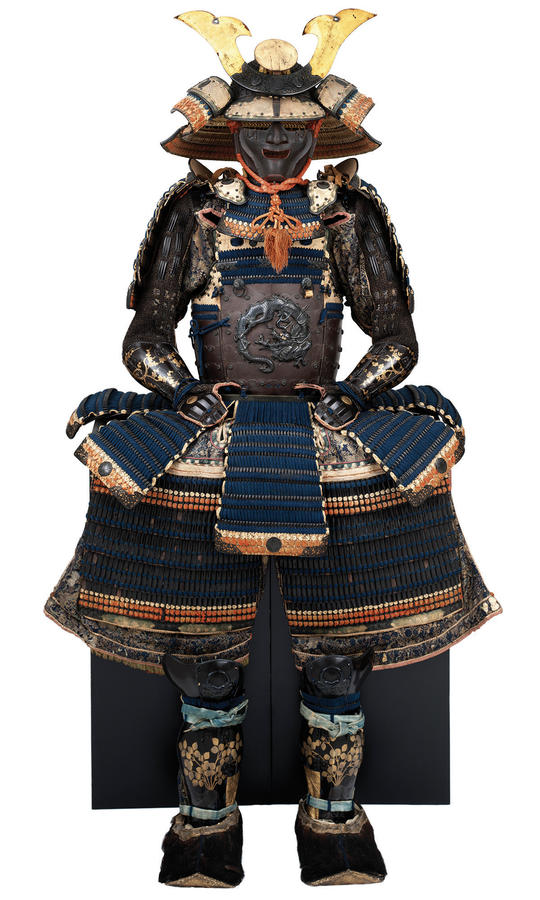 Armor of the Yokohagidō Type, Nanbokuchō period, 1333–1392 (helmet); mid-Edo period, 18th century (suit), iron, shakudō, gold and silver lacquer, lacing bronze, wool, silk, brocade, and bear fur, Photograph by Brad Flowers, © The Ann & Gabriel Barbier-Mue