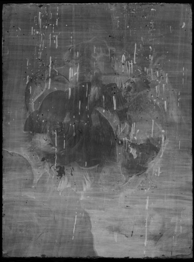 X-radiograph of The Torment of Saint Anthony revealing the vertical wood grain of the poplar panel and confirming its excellent condition, despite small, scattered losses and worm holes.