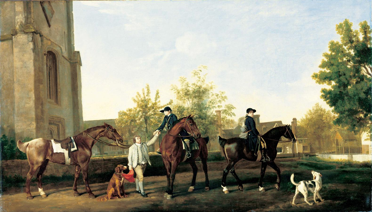 George Stubbs (1724–1806), Lord Torrington's Hunt Servants Setting Out from Southill, Bedfordshire, c. 1767, oil on canvas, Private collection