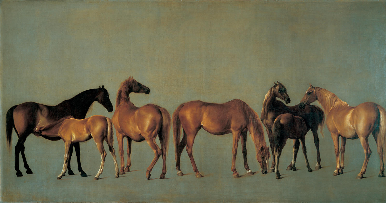 George Stubbs (1724–1806), Mares and Foals, 1762, oil on canvas, Reproduced by permission of the Trustees of the Rt. Hon. Olive, Countess Fitzwilliam's Chattels Settelement, and Lady Juliet Tadgell, Photograph: John Webb