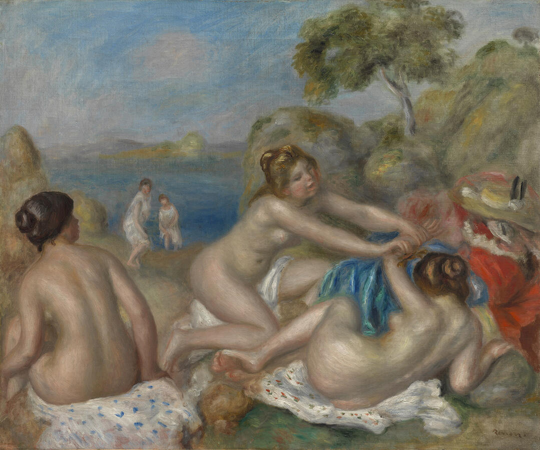 """Pierre-Auguste Renoir, """"Bathers Playing with a Crab,"""" oil on canvas, c. 1897. The Cleveland Museum of Art, Purchase from the J.H. Wade Fund, 1939"""