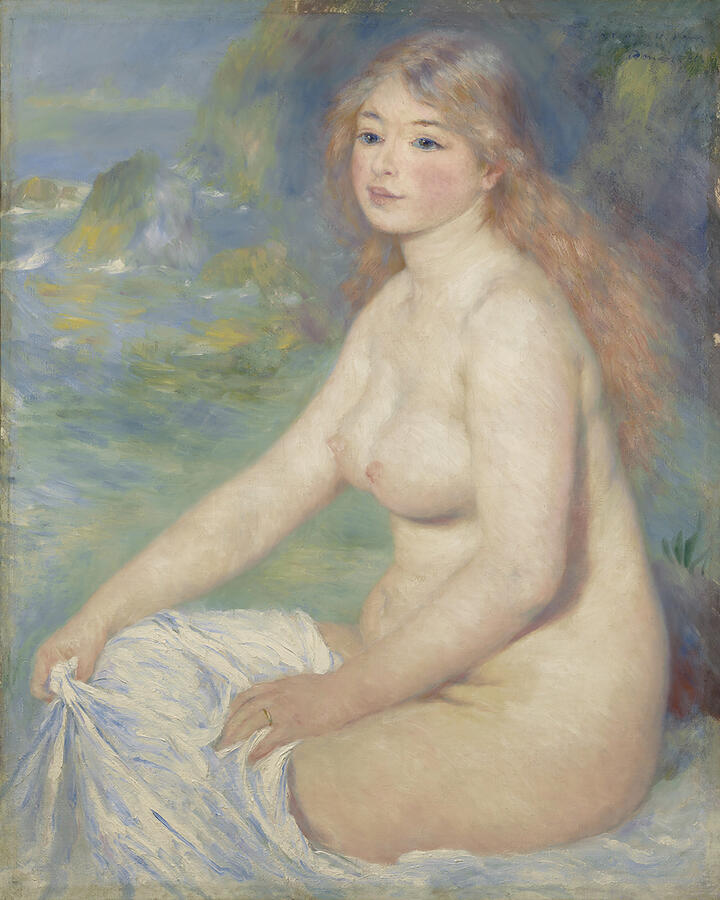 """Pierre-Auguste Renoir, """"Blonde Bather,"""" oil on canvas, 1881. The Clark Art Institute, Williamstown, Massachusetts Acquired by Sterling and Francine Clark, 1926"""