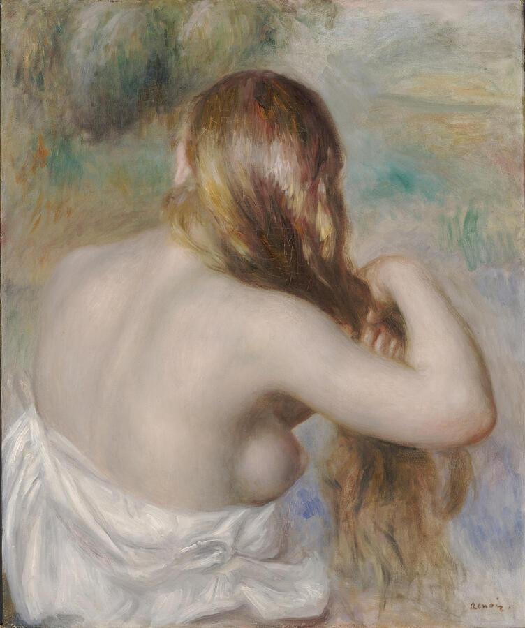 "Pierre-Auguste Renoir, ""Blonde Braiding Her Hair,"" oil on canvas, 1886. Dallas Museum of Art, The Eugene and Margaret McDermott Art Fund, Inc., in honor of Gene Jones"