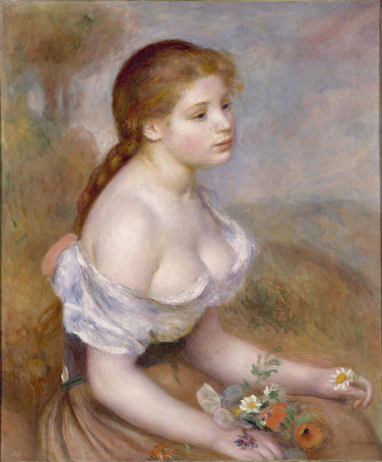 """Pierre-Auguste Renoir, """"A Young Girl with Daisies,"""" oil on canvas, 1889. The Metropolitan Museum of Art, New York. The Mr. and"""