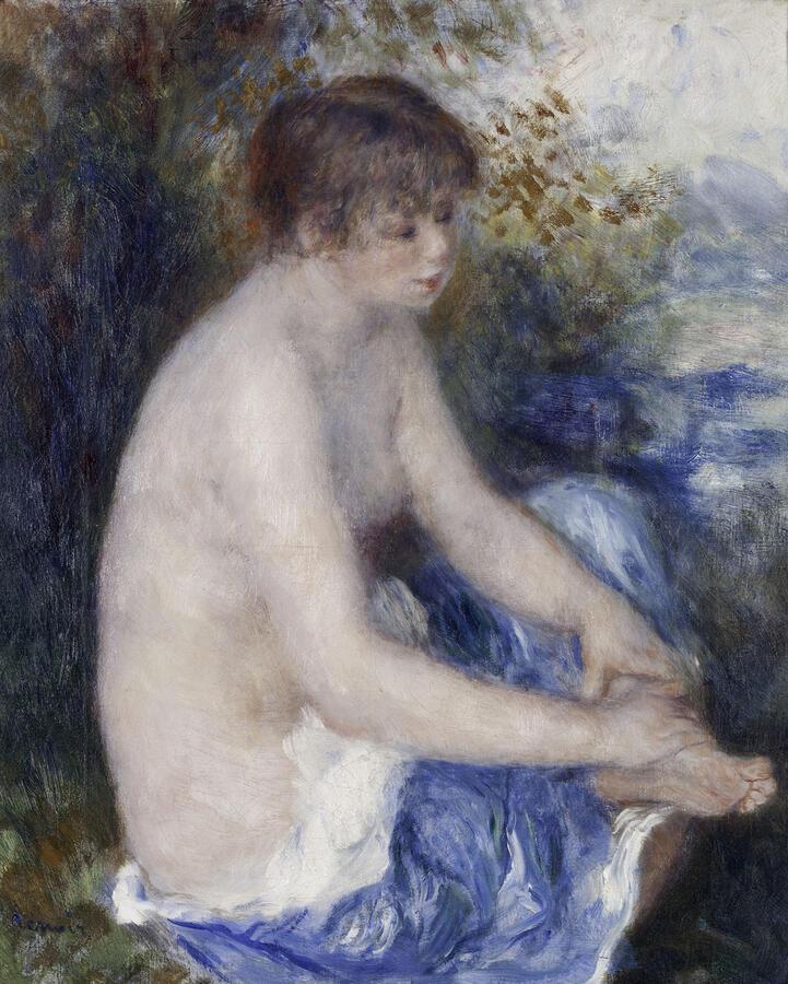 "Pierre-Auguste Renoir, ""Petit nu bleu (Little Blue Nude),"" oil on canvas, c. 1878–79. Albright-Knox Art Gallery, Buffalo, New York. General Purchase Funds, 1941"