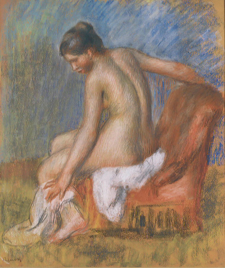 """Pierre-Auguste Renoir, """"Nude in an Armchair,"""" pastel on paper, 1885–90. Private collection"""