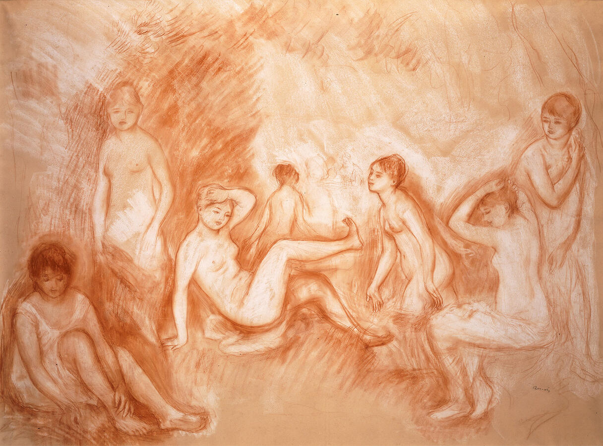 """Pierre-Auguste Renoir, """"The Bathing Spot, Study for the 'Great Bathers,'"""" sanguine and white chalk on paper, c. 1886–87.  Thyssen-Bornemisza Collections"""