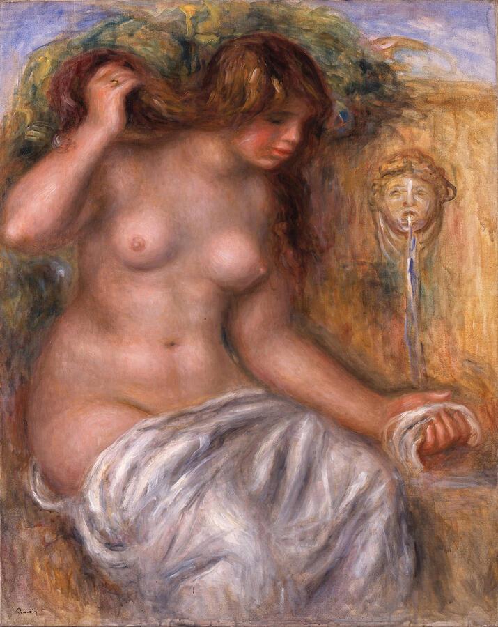 "Pierre-Auguste Renoir, ""The Spring (La Source),"" oil on canvas, 1909–10. The Museum of Fine Arts, Gifu, Japan"