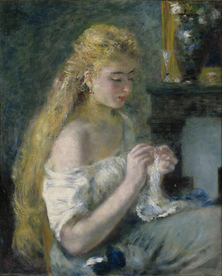 """Pierre-Auguste Renoir, """"Woman Crocheting,"""" oil on canvas, c. 1875. The Clark Art Institute, Williamstown, Massachusetts. Acquired by Sterling Clark, 1916"""