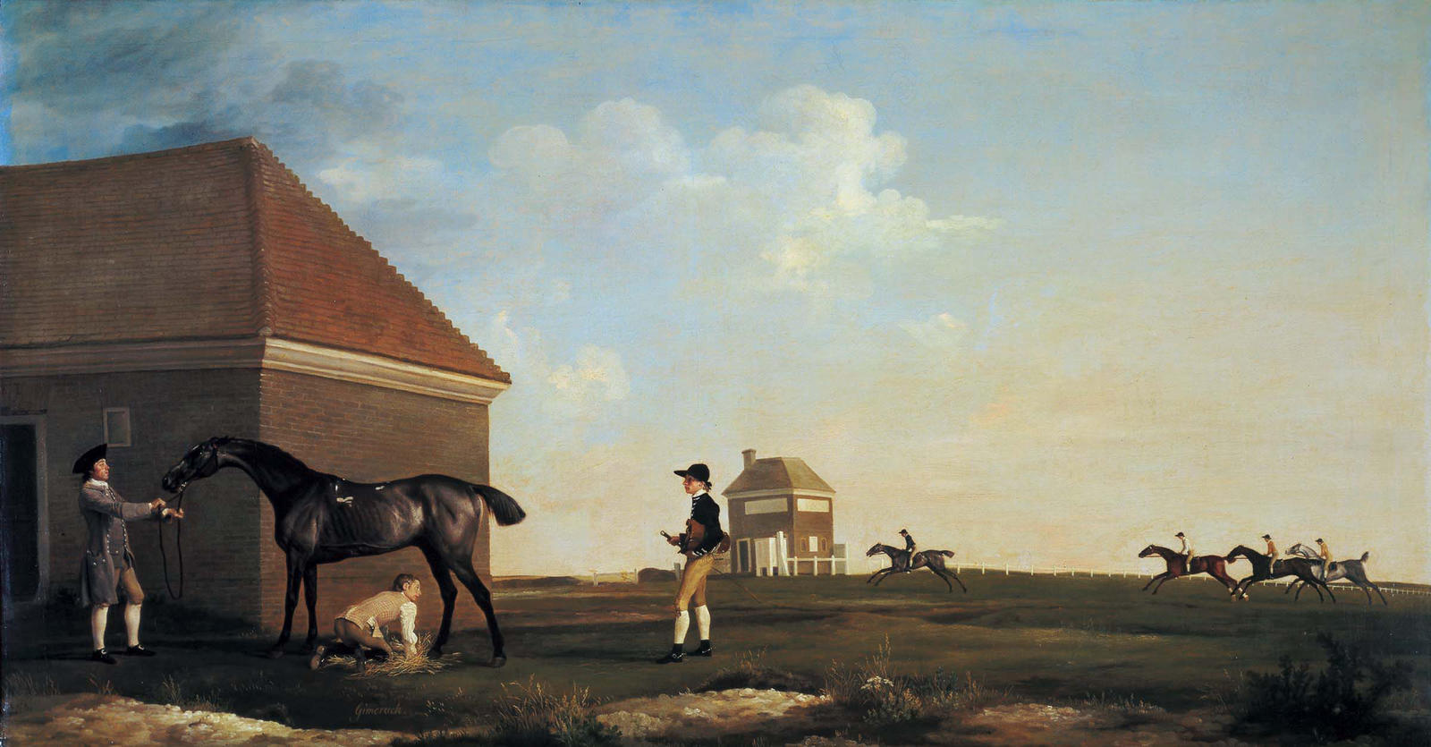 George Stubbs, Gimcrack on Newmarket Heath, with a Trainer, a Stable-Lad, and a Jockey, 1765, oil on canvas, Commissioned by Lord Bolingbroke, The Woolavington Collection, Photo by John Webb