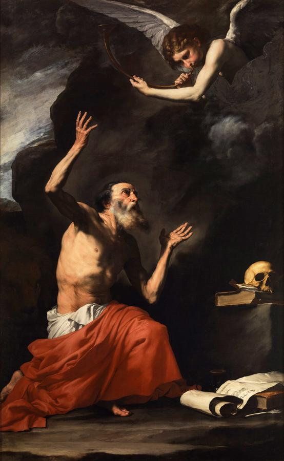 """Jusepe Ribera, """"Saint Jerome and the Angel of Judgement,"""" 1626, oil on canvas"""