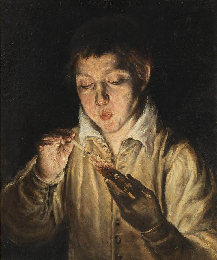 """El Greco, """"Boy Blowing on an Ember,"""" c.1571–72, oil on canvas. Museo e Real Bosco di Capodimonte, Naples"""