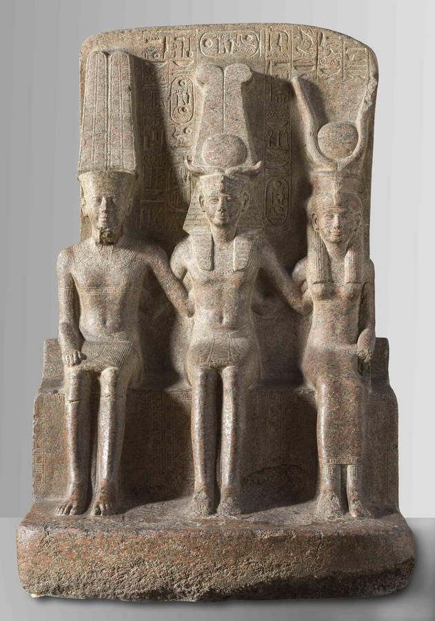 Statue of Ramesses II, Seated Between Amun and Mut