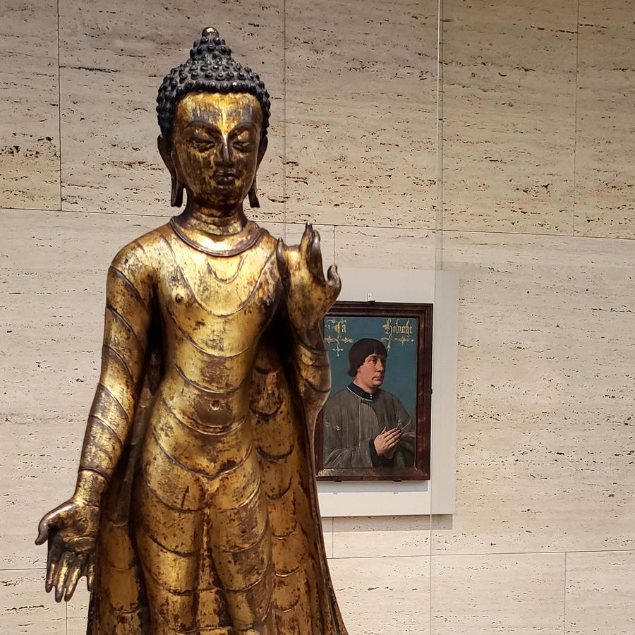 Standing Buddha Shakyamuni and Portrait of Jacob Obrecht