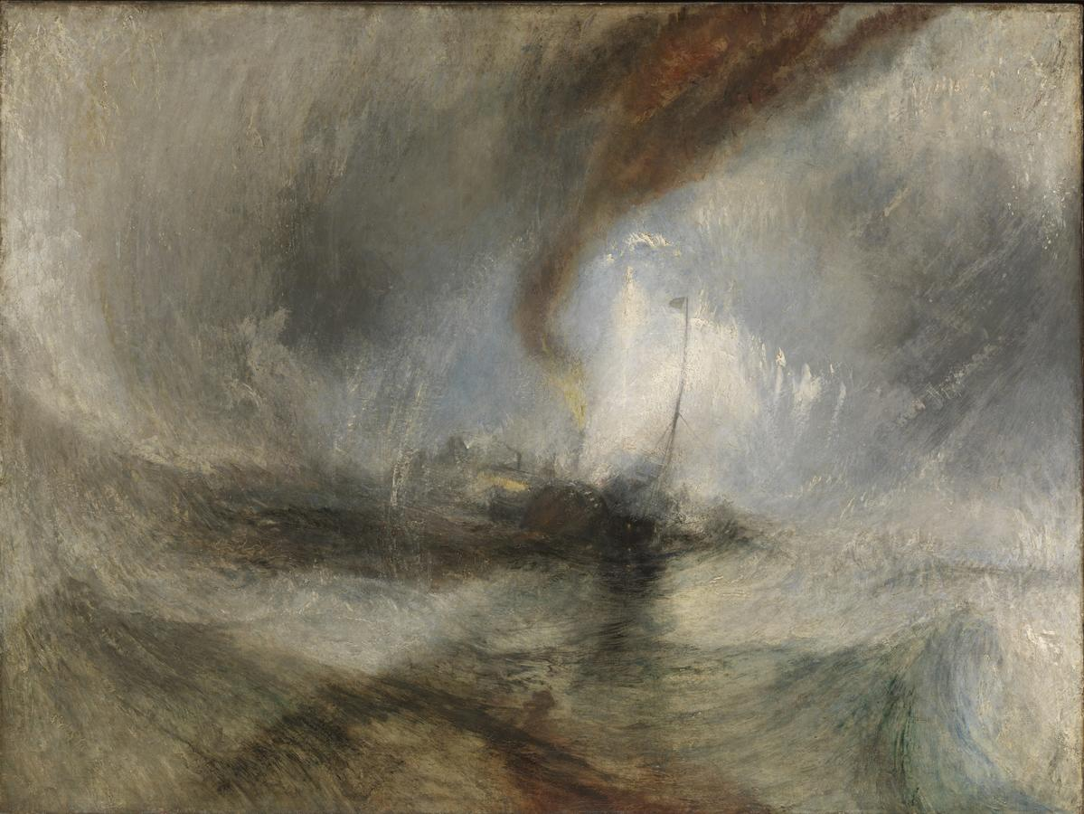 """J.M.W. Turner, """"Snow Storm – Steam-Boat off a Harbour's Mouth,"""" exhibited 1842, oil on canvas, 36 x 48 in. Tate Britain, London, accepted by the nation as part of the Turner Bequest 1856, N00530. Photo: © Tate, London, 2020"""