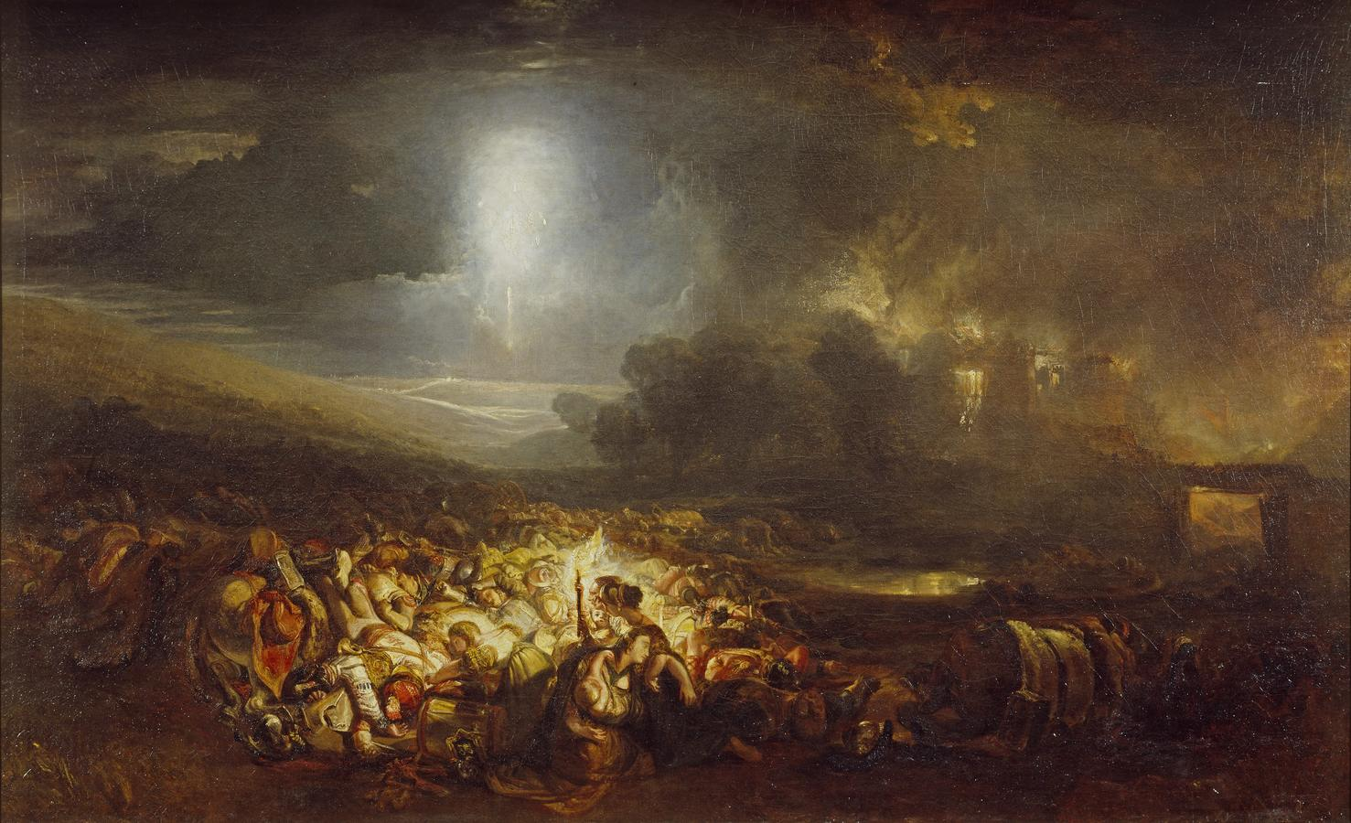 """J.M.W. Turner, """"The Field of Waterloo,"""" exhibited 1818, oil on canvas, 58 x 94 in. Tate Britain, London, accepted by the nation as part of the Turner Bequest 1856, N00500. Photo: © Tate, London, 2020"""