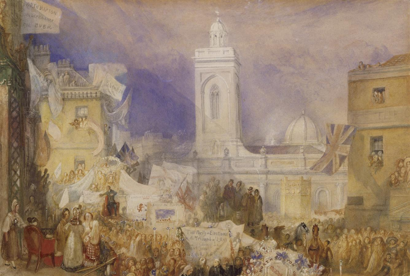 """J.M.W. Turner, """"The Northampton Election, 6 December 1830,"""" about 1830–1831, watercolor, gouache, and ink on paper, 11 1/2 x 17 1/4 in. Tate Britain, London, accepted by the nation as part of the Turner Bequest 1856, T12321. Photo: © Tate, London, 2020"""