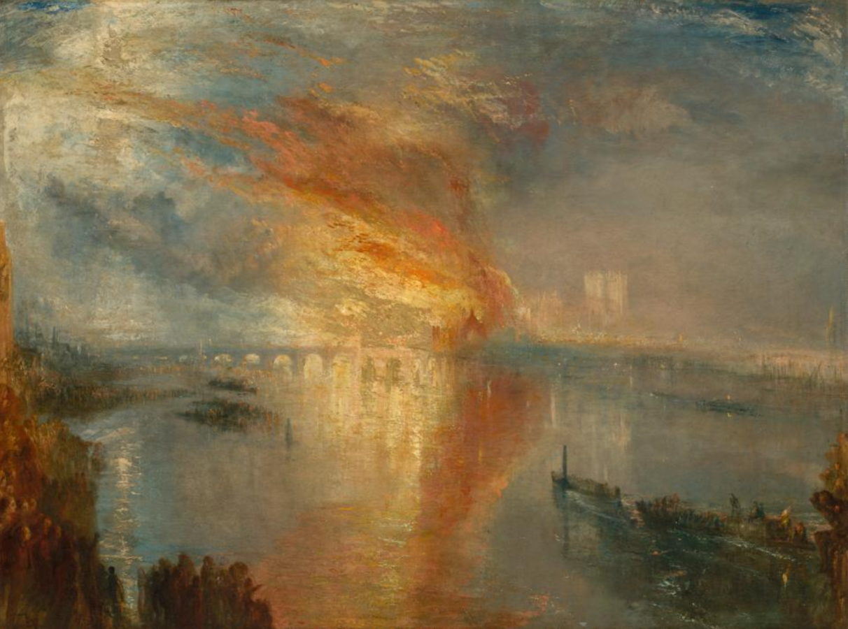 """J.M.W. Turner, """"The Burning of the Houses of Lords and Commons, October 16, 1834,"""" about 1834–1835, oil on canvas, 36 1/4 x 48 1/2 in. The Cleveland Museum of Art, Bequest of John L. Severance, 1942.647"""