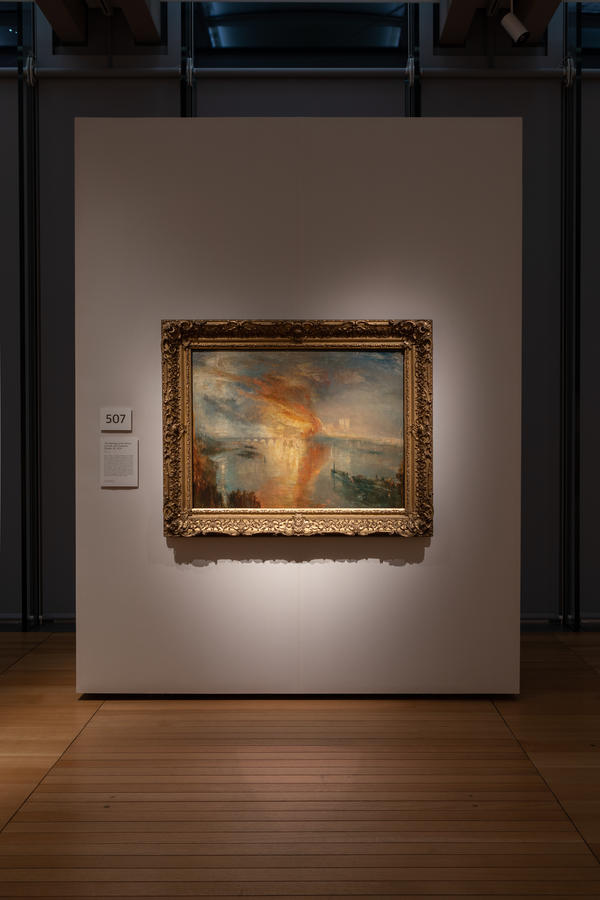 """Photo © Robert LaPrelle, Kimbell Art Museum J. M. W. Turner, """"The Burning of the Houses of Lords and Commons, 16 October, 1834,"""" c. 1834–1835. Oil on canvas. The Cleveland Museum of Art, Bequest of John L. Severance."""