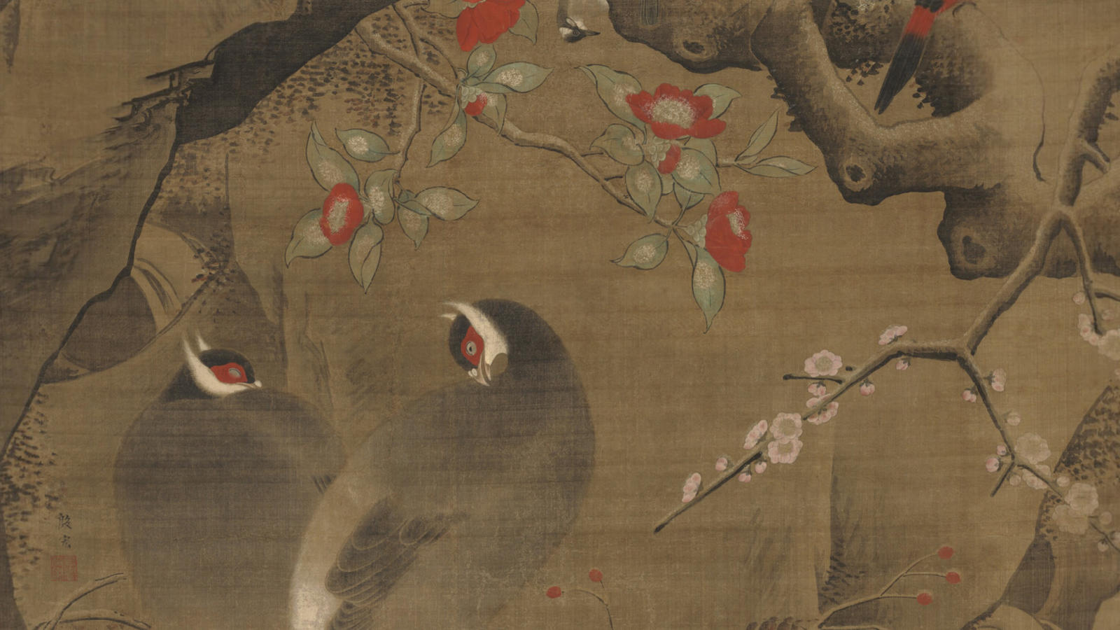 Yin Hong, Birds and Flowers of Early Spring (detail)