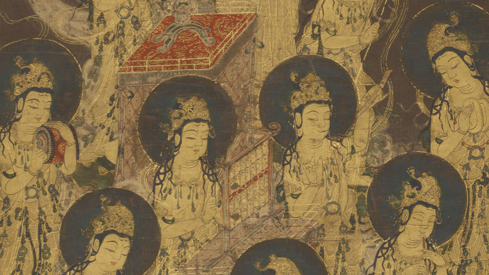 """Twenty-Five Bodhisattvas Descending from Heaven,"" Japanese"