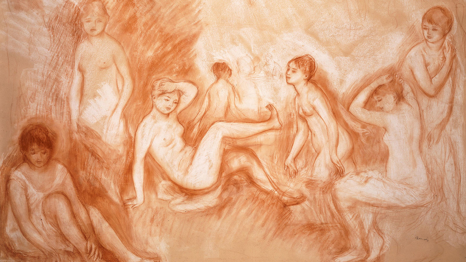 "Header: Renoir, ""The Bathing Spot, Study for the 'Great Bathers'"""