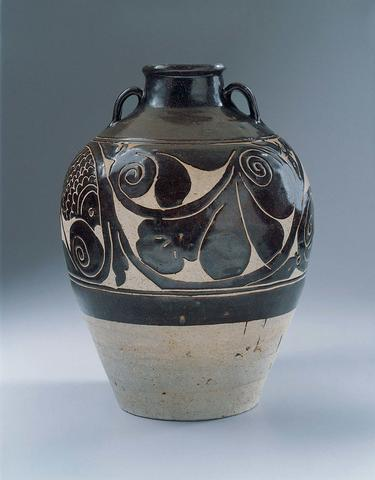 Vase with Fish and Foliate Scroll Design