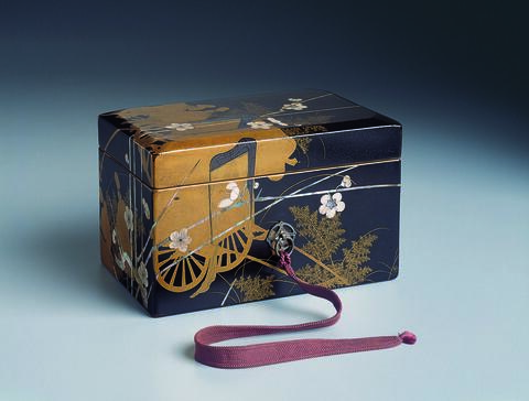 Box with Courtiers, Carts, and Blossoms