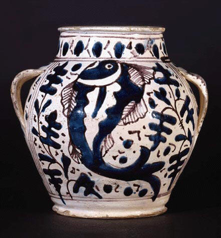 Apothecary Jar with Oak Leaf and Fish