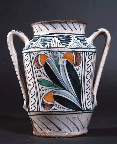 Apothecary Jar with Gothic Leaf Motif