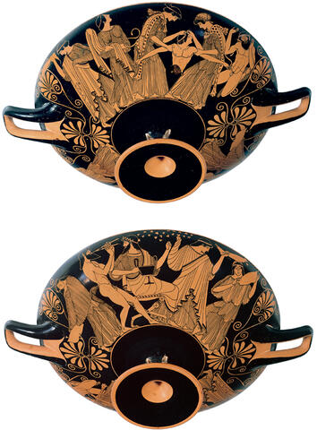 Red-Figure Cup Showing the Death of Pentheus (exterior) and a Maenad (interior)