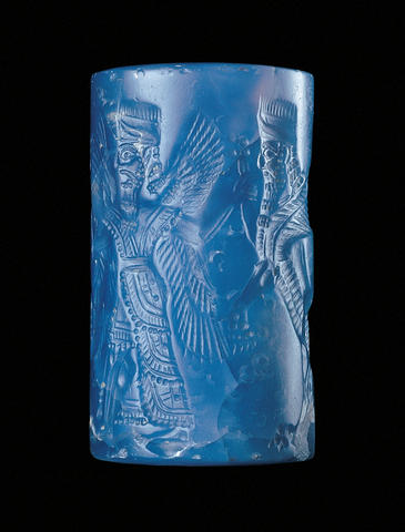 Cylinder Seal with Winged Genius and Human-headed Bulls