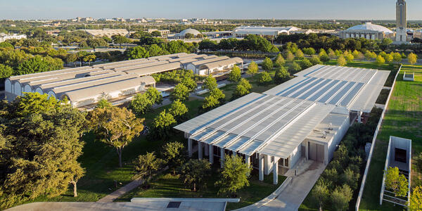 Aerial view of the Kimbell's campus, photo by Nic Lehoux