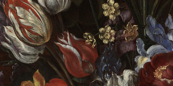 Jacques de Gheyn II Vase of Flowers with a Curtain (detail)
