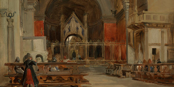 Richard Parkes Bonington, The Interior of Sant' Ambrogio (detail)