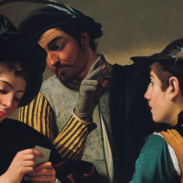 Caravaggio, The Cardsharps (detail)