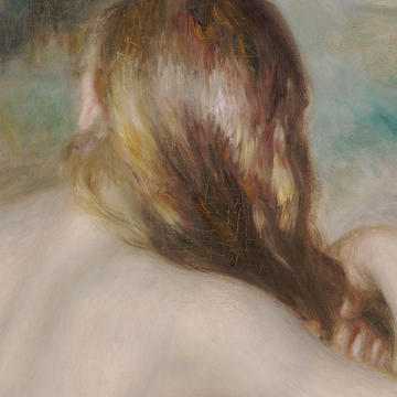"Header: Renoir, ""Blonde Braiding Her Hair"""